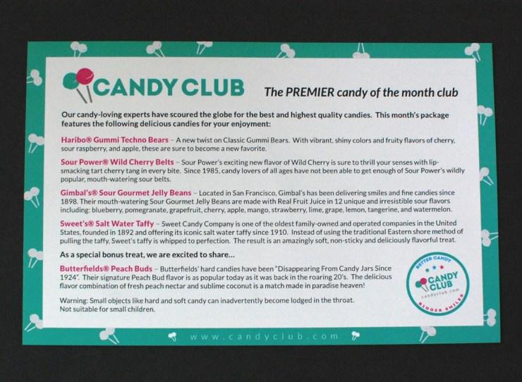 Candy Club info card