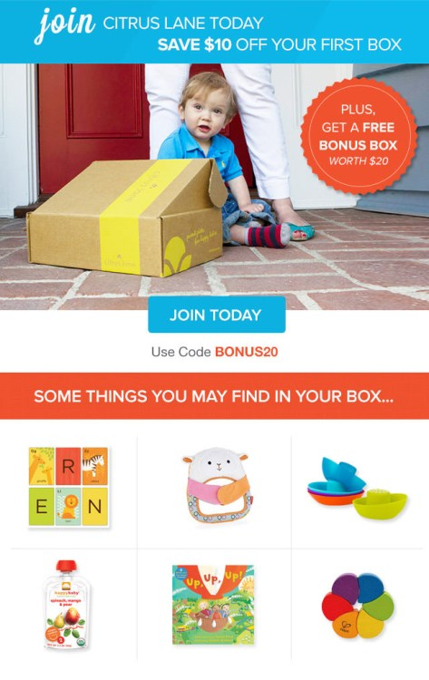 Citrus Lane save $10 and get a free $20 bonus box.