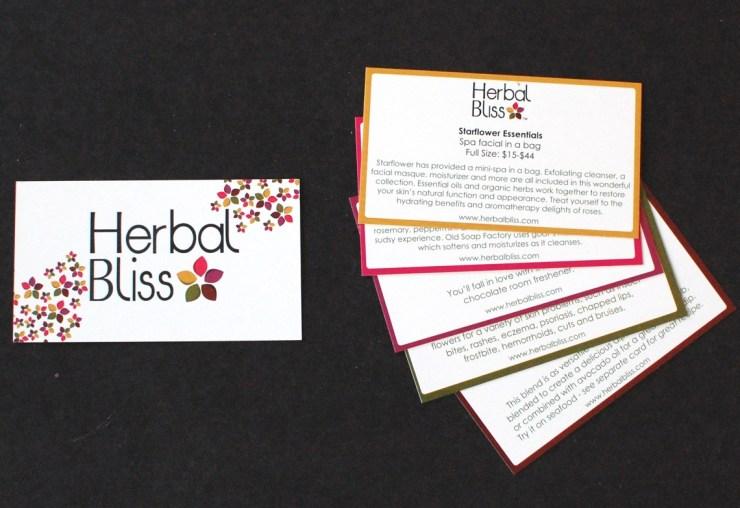 Herbal Bliss info cards