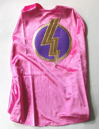Pink hero cap with lightning bolt
