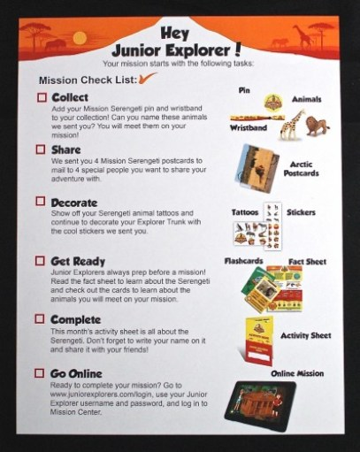 Junior Explorers checklist