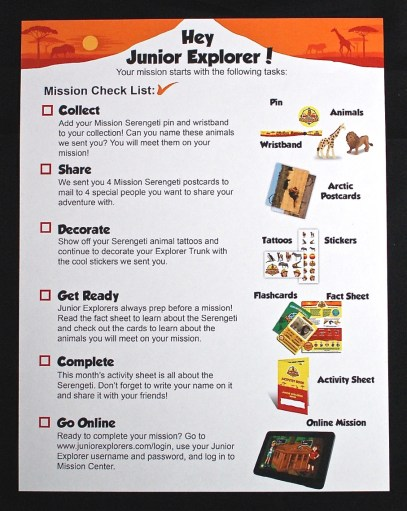 Junior Explorers checklist