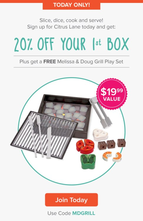Citrus Lane Deal: 20% Off + FREE Melissa & Doug Grill Set (Today Only?)