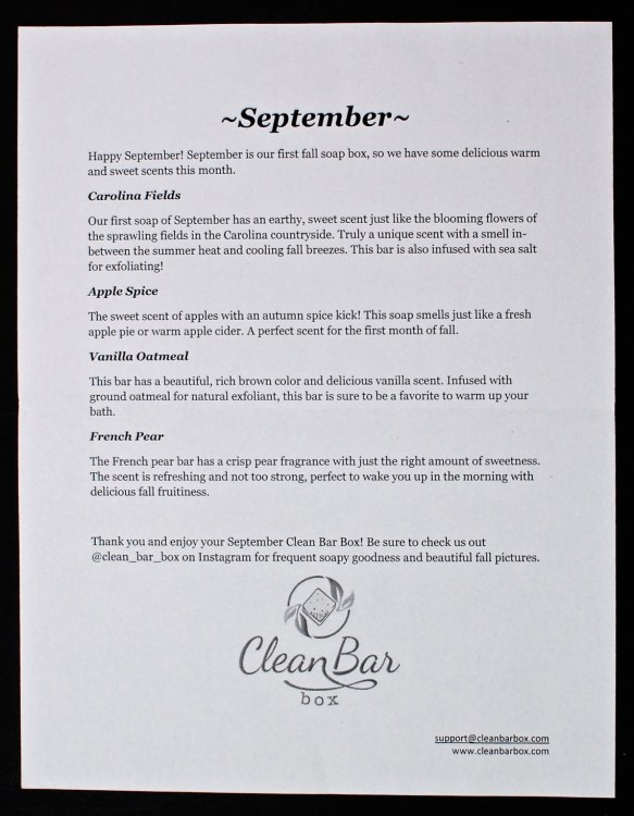 September 2015 Clean Bar Box review