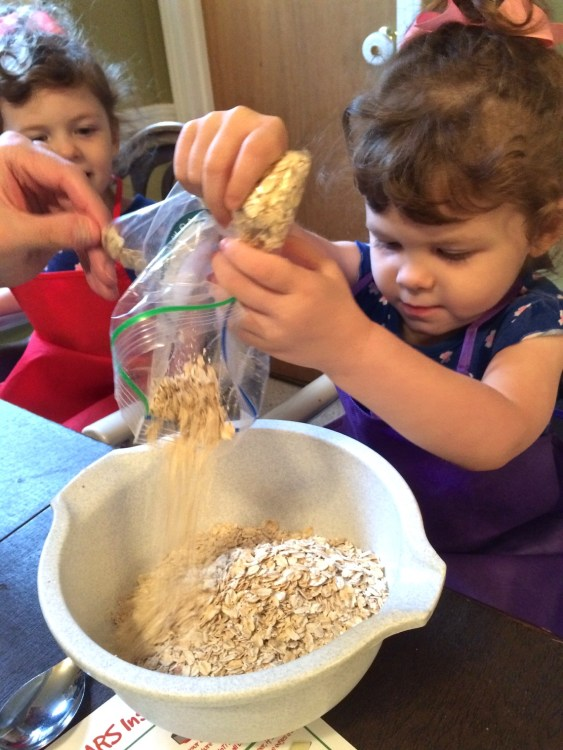pouring oats