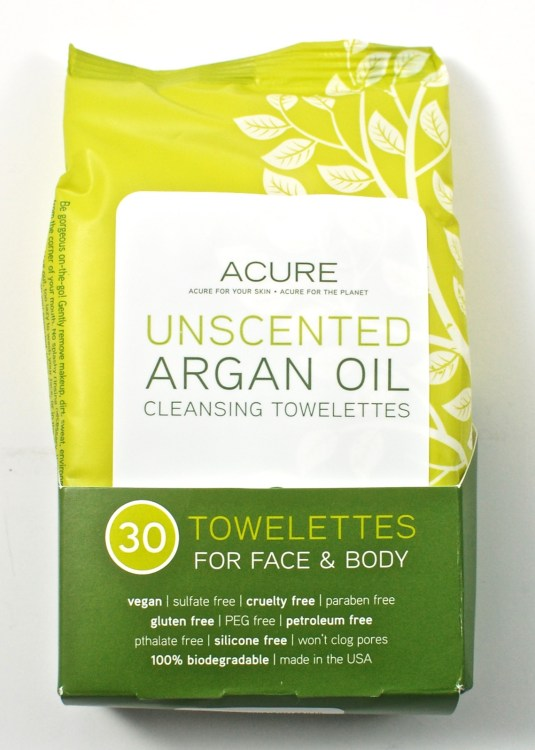 Acure argan oil towelettes