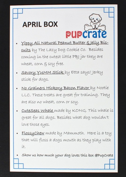 April 2016 Pup Crate review