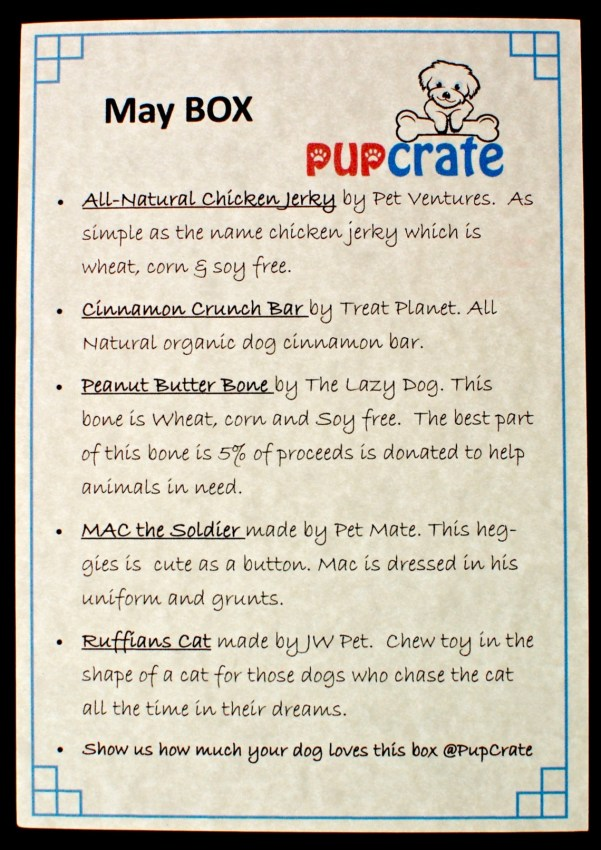 May 2016 Pup Crate review