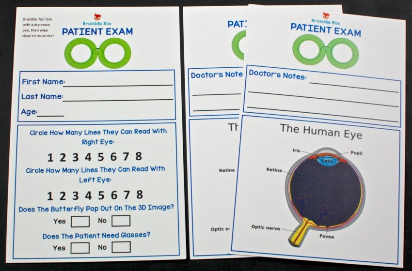 eye exam cards