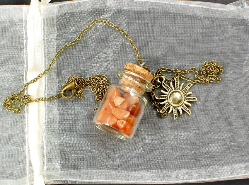sun salutation cork bottle necklace