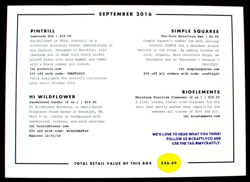 September 2016 Craftly box
