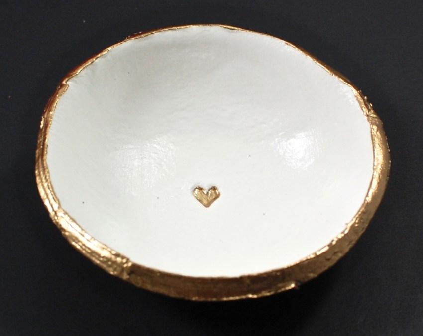gold heart dish
