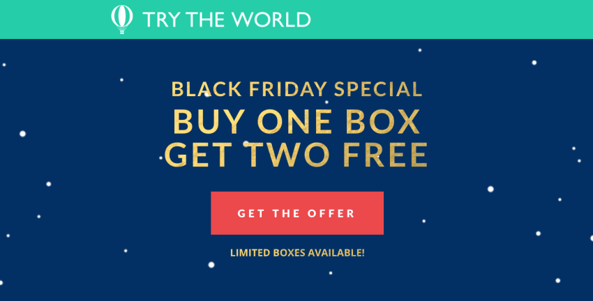 Try the World Buy One Get Two Free Black Friday Deal