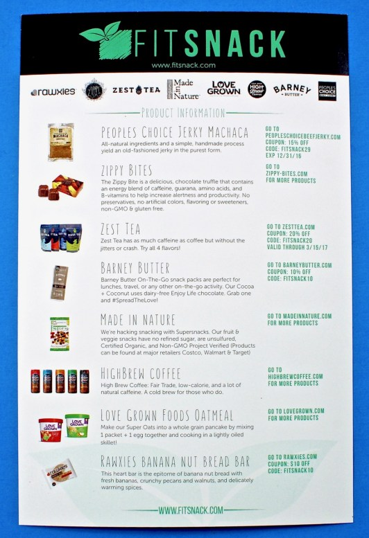 December 2016 Fit Snack box