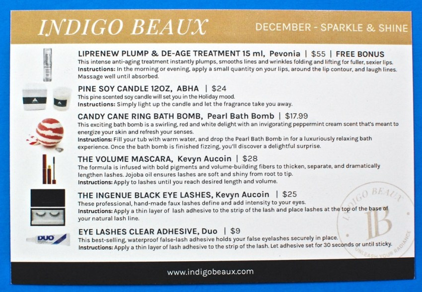 December 2016 Indigo Beaux box