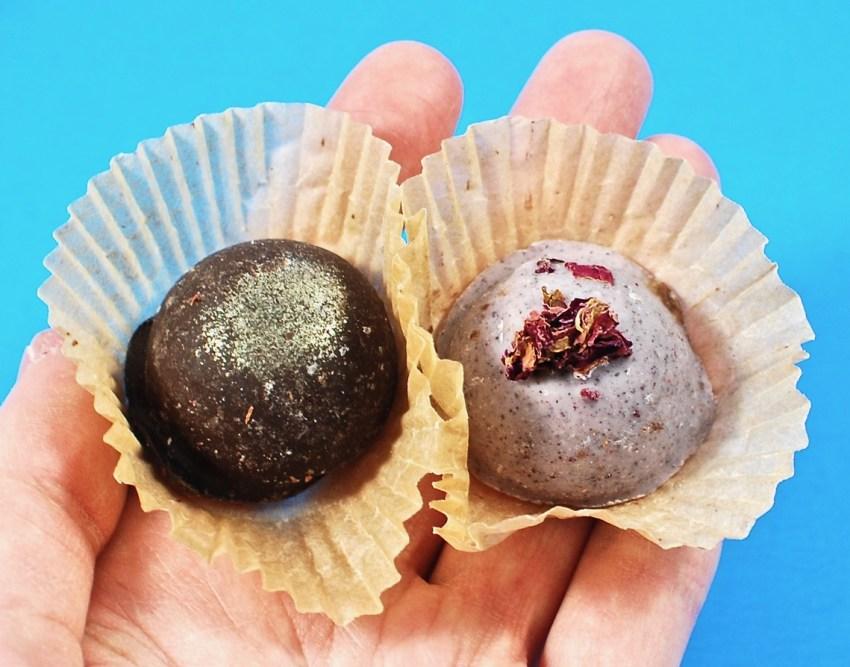 Rose & basil vegan truffles