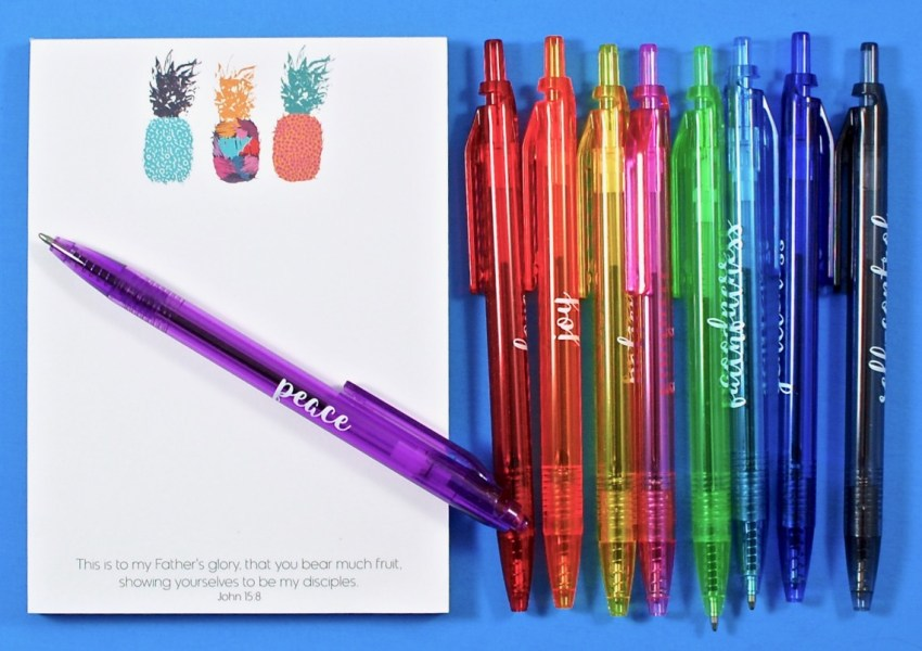 Fruit of the Spirit notepad pens