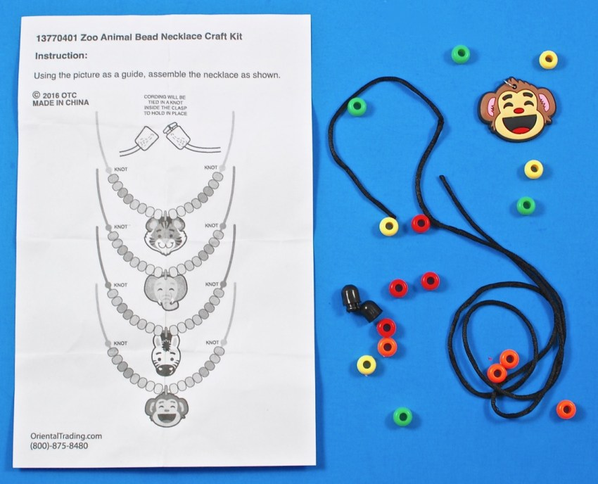 zoo animal bead necklace craft