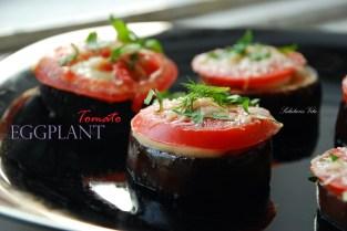 Grilled eggplant tomato