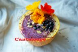 Protein smoothie inside cantaloupe 4CSSV