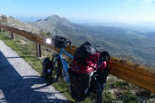Jan's bicycle on the ridge above Shkadar Lake with Albania in the background.