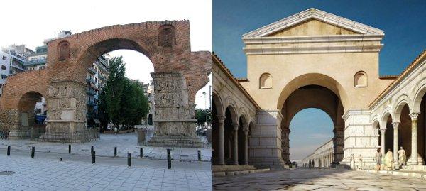 Η Αψίδα του Γαλερίου σήμερα και η ψηφιακή απεικόνισή της.