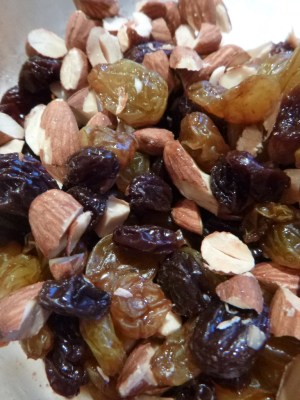 Marsala soaked raisins and toasted almonds