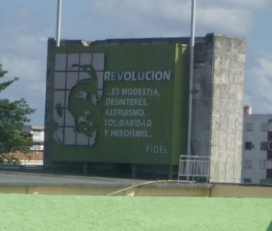 Billboard along the highway on the way back to Havana.