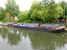 The two barges that went into the lock tied together, side by side.