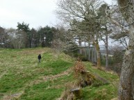 Alex traipsing over the site of the Iron Age fort.