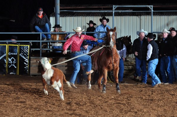 Cole Moody ties his calf in 8.39 seconds at the Diamond Cross CPRA Winter Series at Tejas Rodeo on January 4, 2014. Moody finished in fourth place for the event.