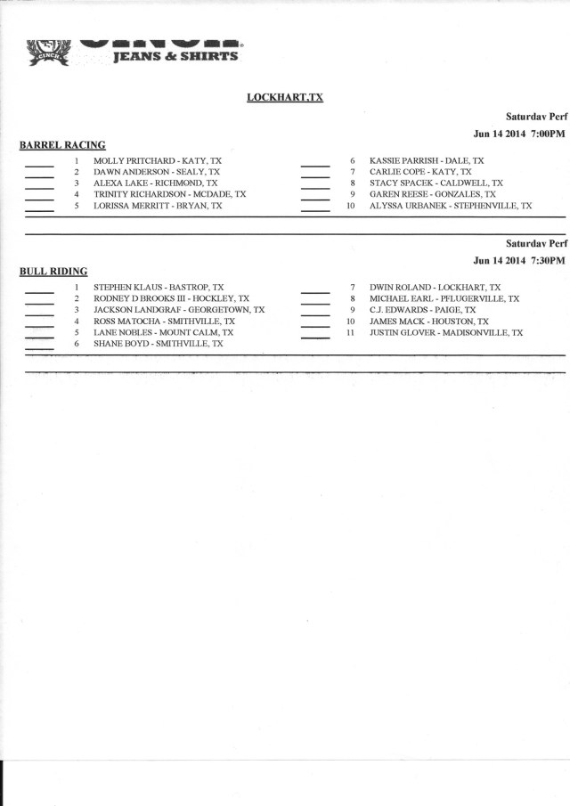 Lockhart Sat Day Sheet 2 of 2