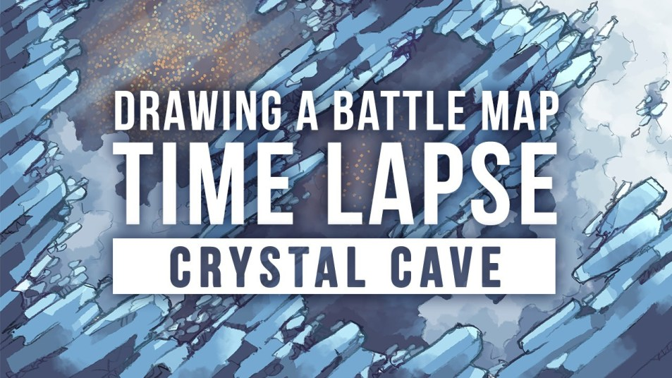 Speed Drawing the Crystal Cave battle map video