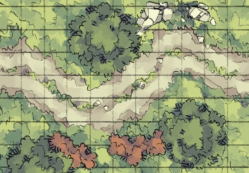 Roadside Wilderness Battle Map (grid)
