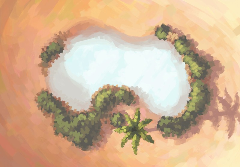 Desert Oasis Battle Map, Color