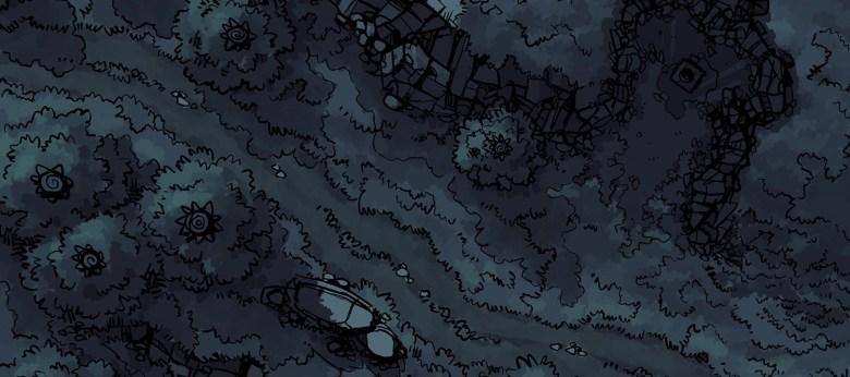 Hillside Altar battle map, nighttime banner