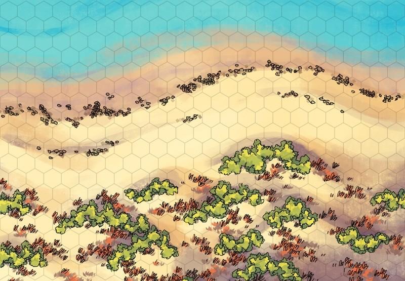Beach Dunes Battle Map, hex grid