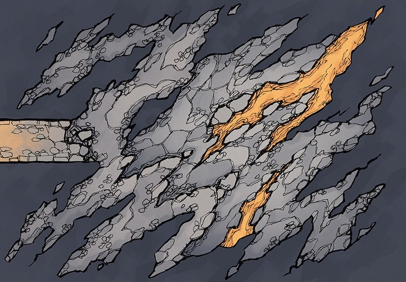 Jagged Cave battle map, color