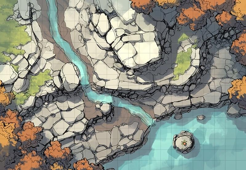 Rocky Descent battle map, square grid