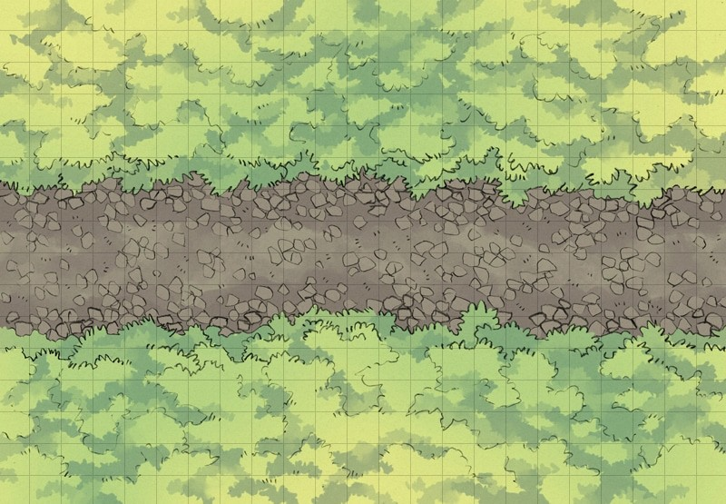 Cobblestone Highway battle map, square grid