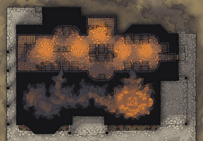 Haunted Cellar RPG battle map, color