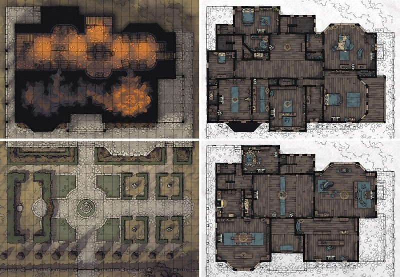 Haunted Estate RPG battle map set