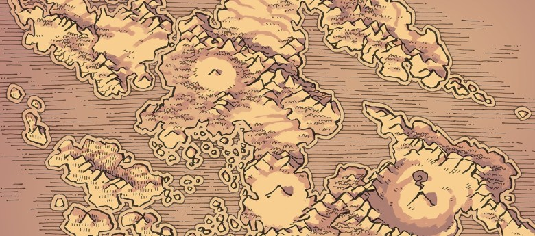 Wei Continent RPG World Map, banner, parchment