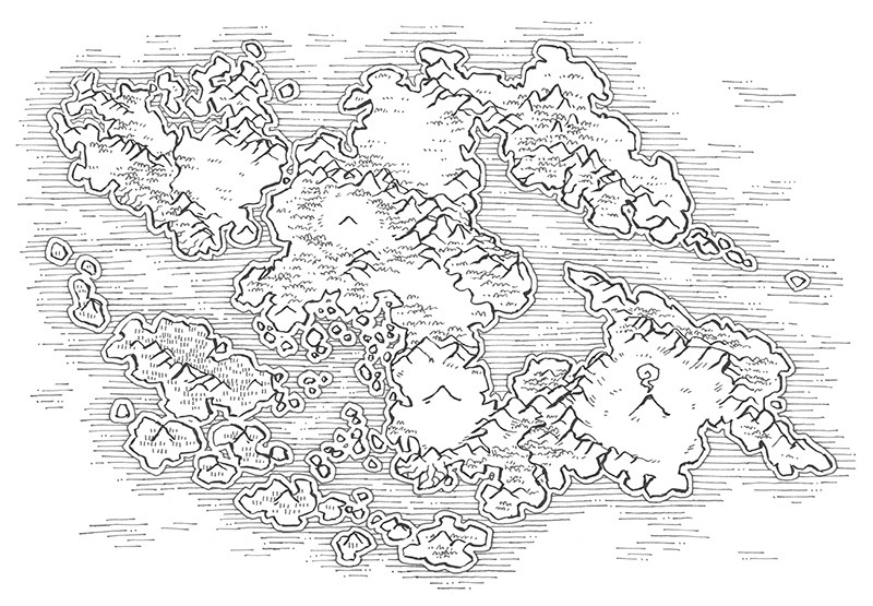 Wei Continent RPG World Map, line art