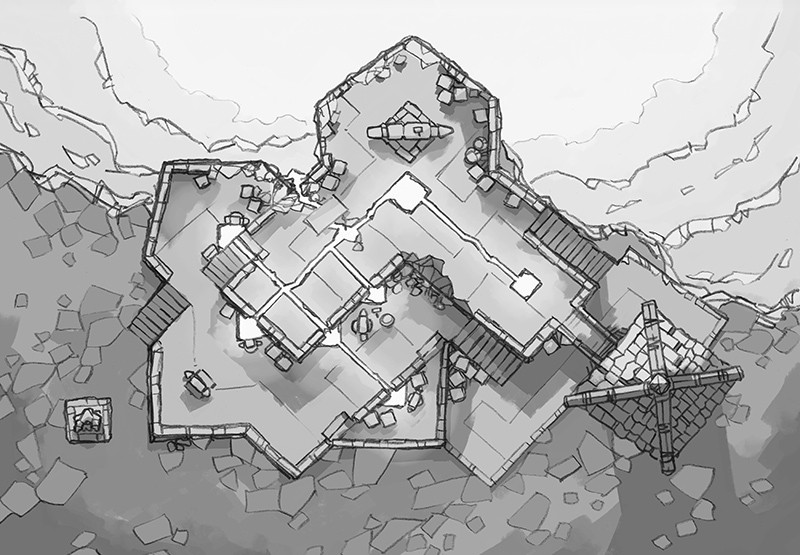 Volcanic Forge RPG Battle Map, black & white