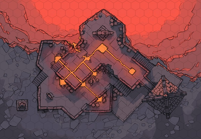 Volcanic Forge RPG Battle Map, hex grid