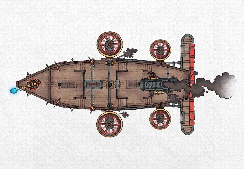 Airships & Assets RPG Graphics, Steampunk Airship