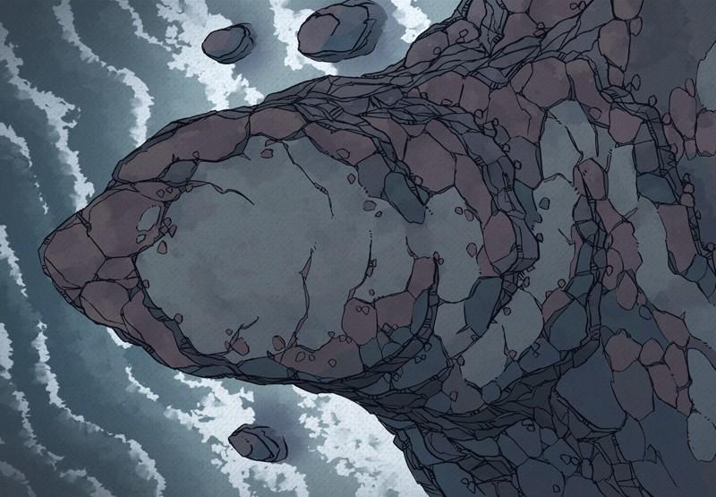 Seaside Precipice RPG battle map, color