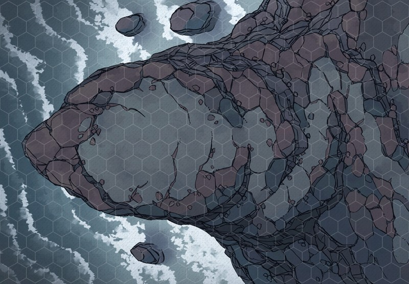 Seaside Precipice RPG battle map, hex grid