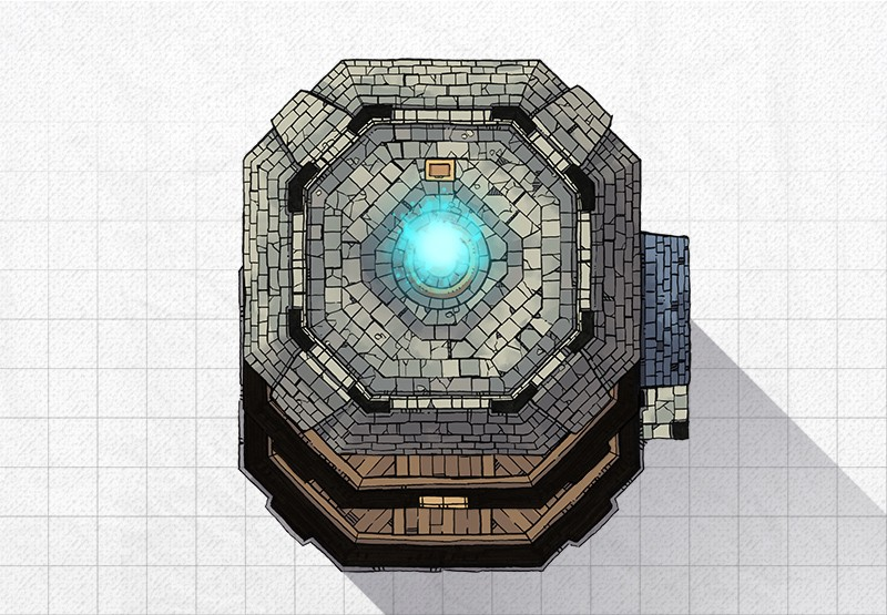 Lighthouse RPG battle map, constructed